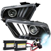 HID Xenon + 10-14 Ford Mustang Sequential LED DRL Bar Projector Headlights - Black