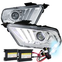 HID Xenon + 10-14 Ford Mustang Sequential LED DRL Bar Projector Headlights - Chrome