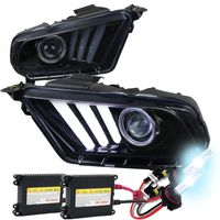 HID Xenon + 10-14 Ford Mustang Sequential LED DRL Bar Projector Headlights - Gloss Black