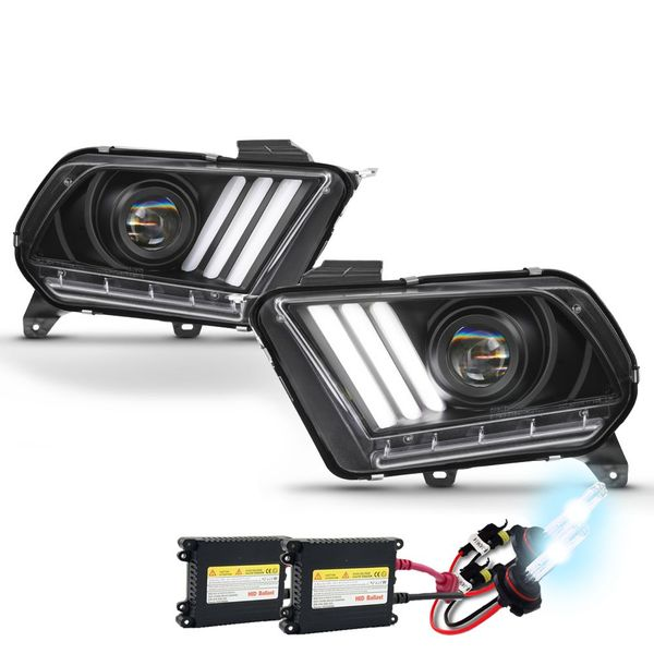 HID Xenon + 10-14 Ford Mustang Sequential LED Signal / DRL Projector Headlights - Black
