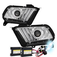 HID Xenon + 10-14 Ford Mustang Sequential LED Signal / DRL Projector Headlights - Chrome