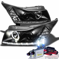 HID Xenon + 11-13 Chevy Cruze LED DRL Projector Headlights - Black