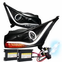 HID Xenon + 11-14 Chevy Cruze Angel Eye Halo & LED Strip Projector Headlights - Black