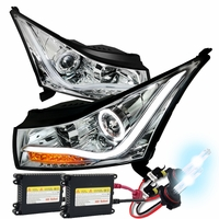 HID Xenon + 11-14 Chevy Cruze Angel Eye Halo & LED Strip Projector Headlights - Chrome