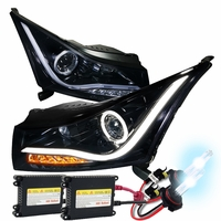 HID Xenon + 11-14 Chevy Cruze Angel Eye Halo & LED Strip Projector Headlights - Gloss Black