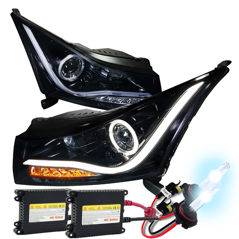 11-14 Chevy Cruze Glossy Black LED Halo Projector Headlights /& Signal
