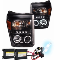 HID Xenon + 11-16 Ford F250 / F350 / F450 Superduty CCFL Angel Eye LED Projector Headlights - Black