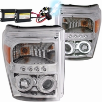 HID Xenon + 11-16 Ford F250 / F350 / F450 Superduty CCFL Angel Eye LED Projector Headlights - Chrome