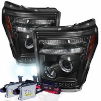 HID Xenon + 11'-16' Ford F250 F350 F450 Superduty Halo LED Projector Headlights - Black