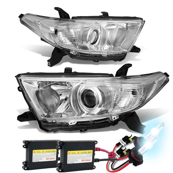 HID Xenon + 11-13 Toyota Highlander OE Style Projector Headlight - Chrome Clear