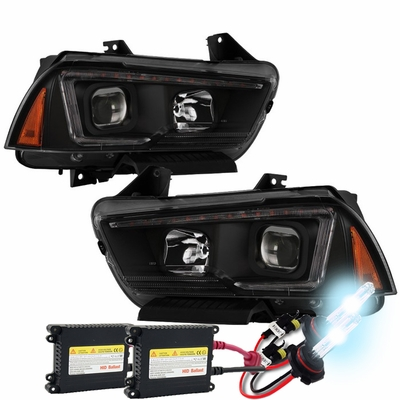 HID Xenon + 11-14 Dodge Charger [Halogen Type] LED DRL Projector Headlights - Black