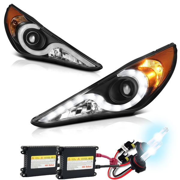HID Xenon + 11-14 Hyundai Sonata LED DRL Strip Projector Headlights - Black