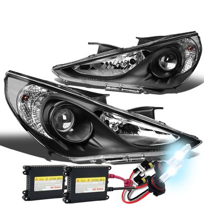 HID Xenon + 11-14 Hyundai Sonata Replace Projector Headlights - Black Clear