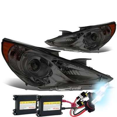 HID Xenon + 11-14 Hyundai Sonata Replace Projector Headlights - Smoked Amber