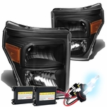 HID Xenon + 11-15 Ford F250 F350 F450 Superduty Replacement Crystal Headlights - Black Amber