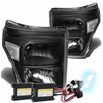 HID Xenon + 11-15 Ford F250 F350 F450 Superduty Replacement Crystal Headlights - Black Clear