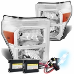 HID Xenon + 11-15 Ford F250 F350 F450 Superduty Replacement Crystal Headlights - Chrome Amber