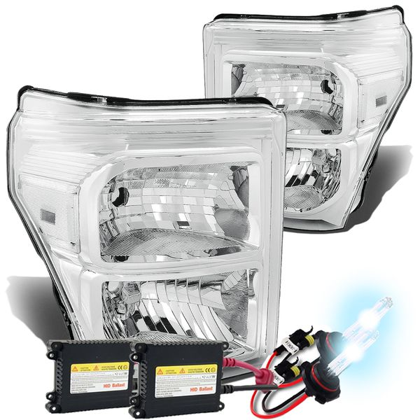 HID Combo 11-15 Ford F250 F350 F450 Superduty Replacement Crystal Headlights - Chrome Clear