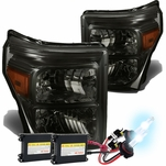 HID Xenon + 11-15 Ford F250 F350 F450 Superduty Replacement Crystal Headlights - Smoked Amber