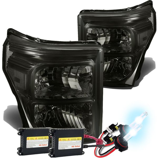 HID Combo 11-15 Ford F250 F350 F450 Superduty Replacement Crystal Headlights - Smoked Clear