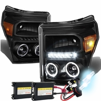 HID Xenon + 11-15 Ford F250 F350 Superduty Halo & LED Projector Headlights -Black