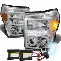 HID Xenon + 11-15 Ford F250 F350 Superduty Halo & LED Projector Headlights -Chrome