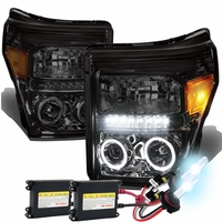 HID Xenon + 11-15 Ford F250 F350 Superduty Halo & LED Projector Headlights -Smoked