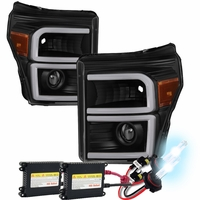 HID Xenon + 11-16 Ford F250-F450 Super Duty LED DRL Tube Projector Headlights - Black