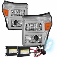 HID Xenon + 11-16 Ford F250-F450 Super Duty LED DRL Tube Projector Headlights - Chrome