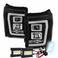 HID Xenon + 11-16 Ford F250~F550 LED C-Tube Projector Headlights - Black