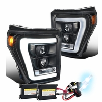 HID Xenon + 11-16 Ford Super Duty F250 F350 LED DRL Tube Projector Headlights - Black