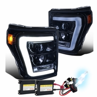 HID Xenon + 11-16 Ford Super Duty F250 F350 LED DRL Tube Projector Headlights - Gloss Black