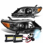 HID Combo 11-17 Toyota Sienna OE-Style Replacement Projector Headlight - Black / Amber
