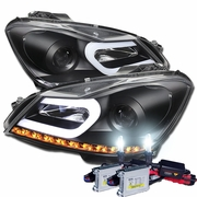 HID Xenon + 12'-14' M-Benz C Class W204 LED DRL Tube Projector Headlights - Black