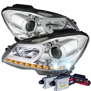 HID Xenon + 12'-14' M-Benz C Class W204 LED DRL Tube Projector Headlights - Chrome