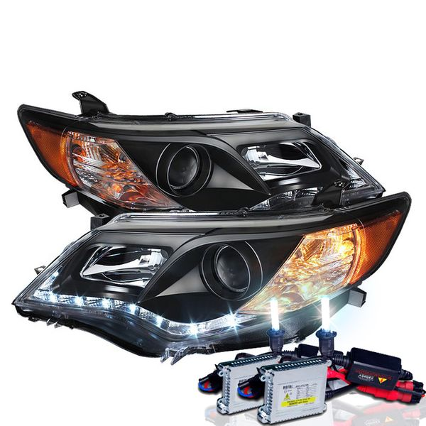 HID Combo 12-13 Toyota Camry R8 Style LED DRL Projector Headlights - Black