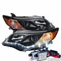 HID Xenon + 12-13 Toyota Camry R8 Style LED DRL Projector Headlights - Black