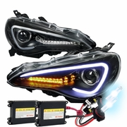 HID Xenon + 12-15 Scion FR-S / Toyota 86 Fiber Optic Style LED DRL Projector Headlights - Black