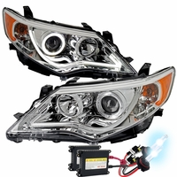 HID Xenon + 12-14 Toyota Camry [Halogen Model] LED DRL Projector Headlights - Chrome