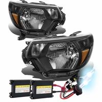 HID Xenon + 12-15 Toyota Tacoma Pickup Replacement Crystal Headlights - Black