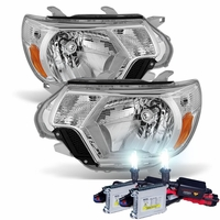 HID Xenon + 12-15 Toyota Tacoma Pickup Replacement Crystal Headlights - Chrome