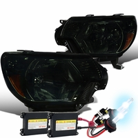 HID Xenon + 12-15 Toyota Tacoma Pickup Replacement Crystal Headlights - Smoked