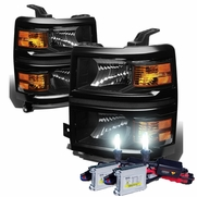 HID Combo 14-15 Chevy Silverado 1500 Replacement Crystal Headlights - Black Amber