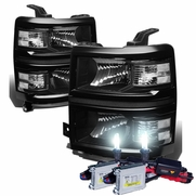 HID Combo 14-15 Chevy Silverado 1500 Replacement Crystal Headlights - Black Clear