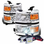 HID Combo 14-15 Chevy Silverado Replacement Crystal Headlights - Chrome Amber