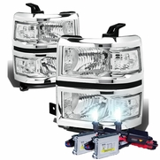 HID Combo 14-15 Chevy Silverado Replacement Crystal Headlights - Chrome Clear