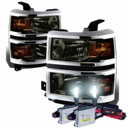 HID Combo 14-15 Chevy Silverado Replacement Crystal Headlights - Smoked Amber