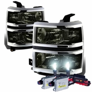 HID Combo 14-15 Chevy Silverado Replacement Crystal Headlights - Smoked Clear