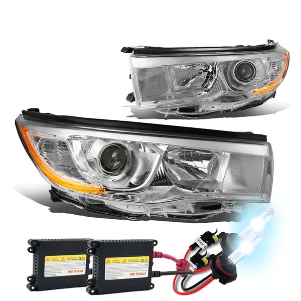 HID Xenon + 14-16 Toyota Highlander Replace Projector Headlights - Chrome Amber