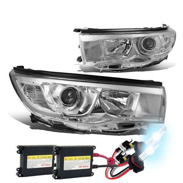 HID Xenon + 14-16 Toyota Highlander Replace Projector Headlights - Chrome Clear